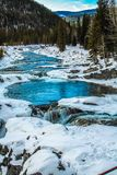Elbow river to elbow falls in winter. Elbow Falls Provincial Recreation Area, Alberta, Canada Royalty Free Stock Image