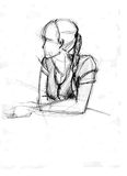 elbows flickan lutade ett s Royaltyfri Illustrationer