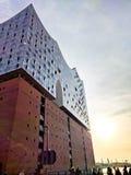 Elbphilharmonie на заходе солнца Стоковое фото RF