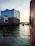 Elbphilharmonie au coucher du soleil Photographie stock libre de droits