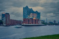 The Elbphilharmonie building in the port of Hamburg royalty free stock image