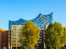 Elbphilharmonie concert hall in Hamburg hdr. HAMBURG, GERMANY - CIRCA MAY 2017: Elbphilharmonie concert hall designed by Herzog and De Meuron, hdr Stock Photography