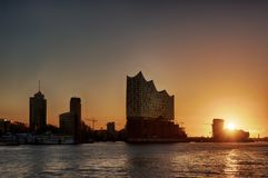 Elbphilharmonie Hamburg. At sunrise, Elbe river Stock Images