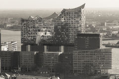 Elbphilharmonie hamburg germany from above in sepia Stock Photos