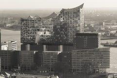 Elbphilharmonie hamburg germany from above in sepia Stock Photos