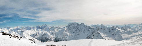 Elbrus. Mountains Zasnezhennye rfvrfz a ridge, for driving skiers stock photo