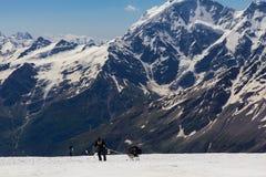 2014 07 Elbrus góra, Rosja: Wspinać się na halnym Elbrus Zdjęcie Stock