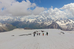 2014 07 Elbrus góra, Rosja: Wspinać się na halnym Elbrus Zdjęcia Stock