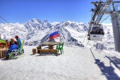 elbrus Mała kawiarnia równa na Powietrznym dźwignięciu najpierw Fotografia Royalty Free