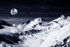 Elbrus Mount with moon Stock Photos