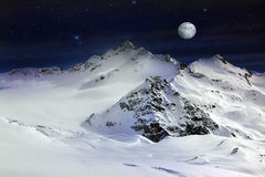 Elbrus Mount with moon. Russia. Caucasus. View on Elbrus Mount - the highest point of Europe royalty free stock image