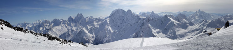 Elbrus Mount. Panorama. Russia. Caucasus. View on Elbrus Mount - the highest point of Europe from Cheget Mount. Panorama the review from 6 shots royalty free stock images