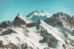 Elbrus mountain top view from the mountains of Dombai, Caucasus Royalty Free Stock Photography