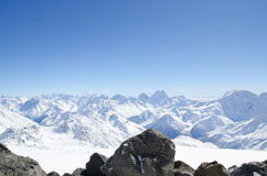 Elbrus mountains view. Elbrus mountains, Kabardino-Balkaria, Russia Royalty Free Stock Photos