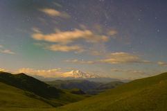 Elbrus under light of stars. Every evening when on the highest top of the Europe looses of stars are lit, understand that the life is eternal royalty free stock images