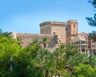 Elche Elx Alicante el Palmeral Palm trees Park and Altamira Pala Royalty Free Stock Photo