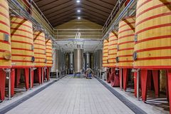 Elciego, Álava, Spain. April 23, 2018: Interior of a wine cellar of the Rioja called Marqués de Riscal with large barrels where. The grapes are thrown so royalty free stock photo