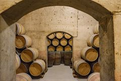 Elciego, Álava, Spain. April 23, 2018: Tunnels connecting the corridors of underground cellars where the Rioja wines of the Marqu. és de Riscal brand age stock photography