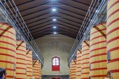 Elciego, à  lawa, Hiszpania Kwiecień 23, 2018: Wnętrze wino loch Rioja dzwonił marqués De Riscal z wielkimi baryłkami dokąd Obrazy Royalty Free