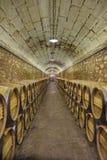 Elciego, à  lawa, Hiszpania Kwiecień 23, 2018: Wnętrze wino lochy dzwonił marqués De Riscal z wina starzeniem się w dębowych ba Obraz Royalty Free