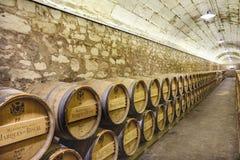 Elciego, à  lawa, Hiszpania Kwiecień 23, 2018: Wnętrze wino lochy dzwonił marqués De Riscal z wina starzeniem się w dębowych ba Zdjęcie Royalty Free