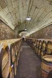 Elciego, à  lawa, Hiszpania Kwiecień 23, 2018: Wnętrze wino lochy dzwonił marqués De Riscal z wina starzeniem się w dębowych ba Obraz Stock