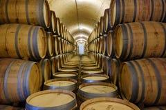 Elciego, à  lawa, Hiszpania Kwiecień 23, 2018: Wnętrze wino lochy dzwonił marqués De Riscal z wina starzeniem się w dębowych ba Obrazy Royalty Free