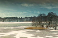 Elckie Lake in winter. Masuria, Poland, Europe Stock Photos