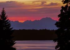 Eld-Einlass-Sonnenuntergang Stockbild