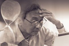 Elder with Alzheimer loss time memory disease royalty free stock photos