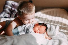 Elder brother kissing newborn baby sister. Happy little brother with newborn baby lying in a bed together, kissing and hugging. Siblings. New born baby and three royalty free stock photo