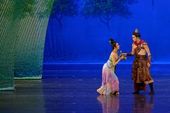 brother`s warning-The first act: the mulberry garden-Epic dance drama `Silk Princess` royalty free stock photo