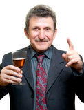 Elder businessman man toasting with glass. Isolated on white Stock Photos