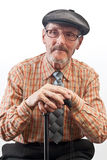 The elder in checkered shirt. The old man in checkered shirt and glasses Royalty Free Stock Photo