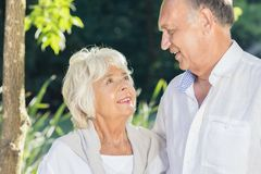 Elder couple being in love Royalty Free Stock Photo