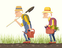 Elder couple gardeners Stock Image