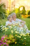 Elder couple on grass Royalty Free Stock Images