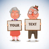 Elder couple holding blank paper to presentation. old age concep Royalty Free Stock Photo