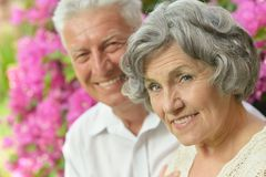Elder couple on pink flowers Royalty Free Stock Photos