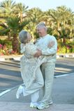 Elder couple at tropic Stock Images