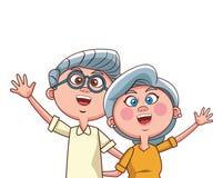 Elder couple waving. Vector illustration graphic design stock illustration
