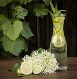 Elder drink. Fresh elder drink with lemon, lime and menta Royalty Free Stock Photos