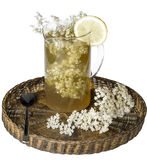 Elder flower juice with lemon. Isolated over white stock photography