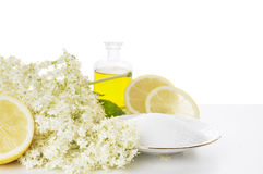 Elder flower syrup preparation, isolated Stock Photos