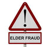 Elder Fraud Caution Sign. Red and White Triangle Caution sign with word Elder Fraud isolated on white vector illustration