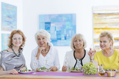 Elder friends smiling. Elder women friends sitting at the table and smiling Stock Photography