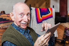 Elder Gentleman with Tablet Stock Photos