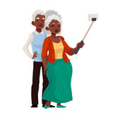 Elder grey-haired african american couple taking selfie. Cartoon style vector illustration. Older casually dressed black skinned man and woman taking pictures Stock Images