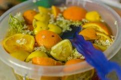 Elder juice with orange. Lemons and flowers Stock Image