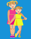 Elder and kid sister Royalty Free Stock Images